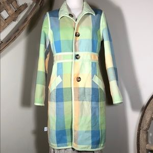 Jackets & Blazers - Retro look reversible coat - lime green / plaid